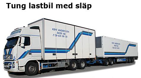 Tung lastbil med släp